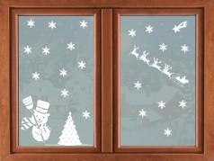 PokojovaDekorace.cz, Vánoční dekorace, Sada se sněhulákem, bílá, 44x96cm