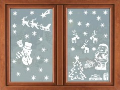 PokojovaDekorace.cz, Vánoční dekorace, Vánoční samolepky na okno-01, bílá, 73x96cm