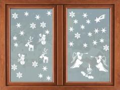 PokojovaDekorace.cz, Vánoční dekorace, Vánoční samolepky na okno-03, bílá, 55x96cm