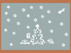 PokojovaDekorace.cz, Vánoční dekorace, Vánoční samolepky na okno-05, bílá, 60x40cm