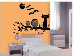 obrázek Sovy a kočka - 14, Samolepky na zeď
