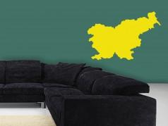 PokojovaDekorace.cz, Samolepky na zeď, Mapa-Slovinsko-01, žlutá, 12,5x8 cm
