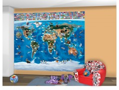 PokojovaDekorace.cz, Tapety, Walltastic-Mapa světa-41851, fototapeta, 304x243cm