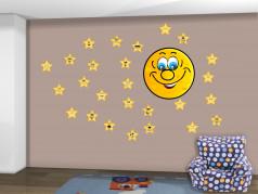 obrázek Hvězdy a měsíc - 01, Dětské samolepky na zeď
