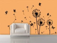 obrázek Pampeliška s motýli-07, Samolepky na zeď